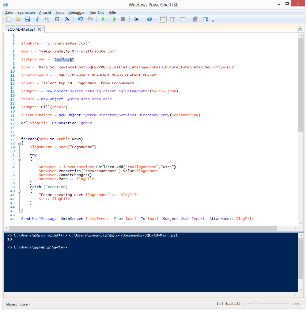 Powershell AD SQL Mail