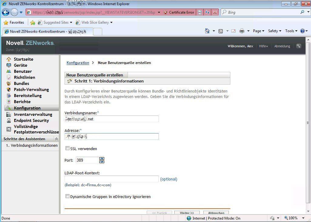 ZENworks Neue Benutzerquelle erstellen