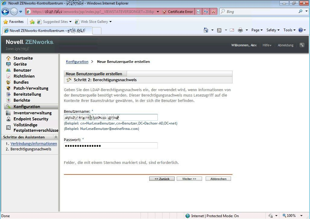 Neue Nutzerquelle erstellen - Berechtigungsnachweis