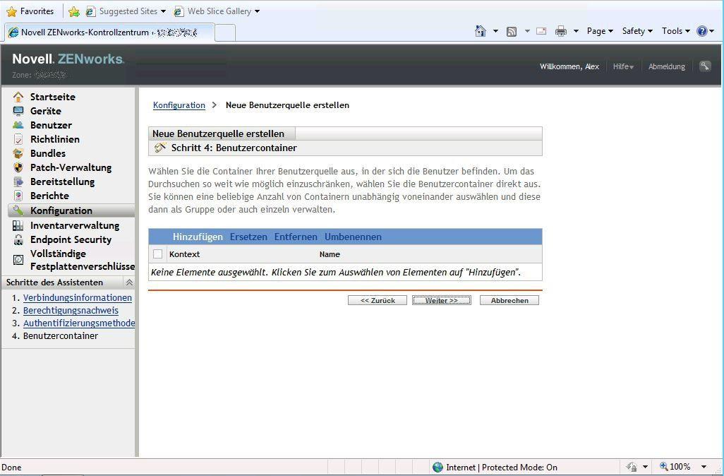 Neue Benutzerquelle erstellen - Benutzercontainer