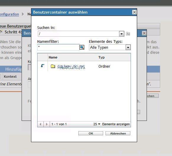 Benutzercontainer wählen