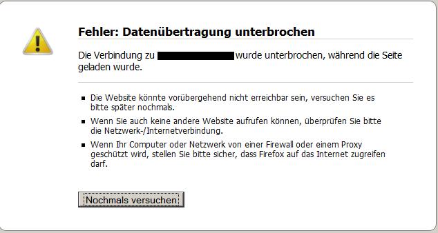 Firefox Fehler Datenuebertragung unterbrochen