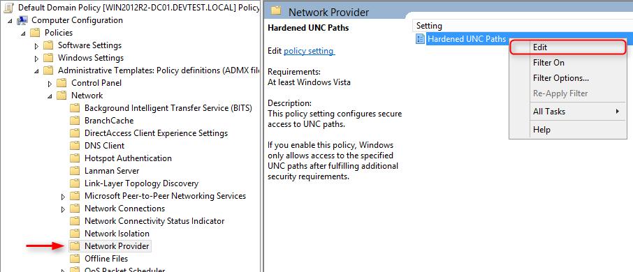UNC Hardened Access - Hardened UNC Path