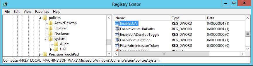 UAC deaktivieren - registry