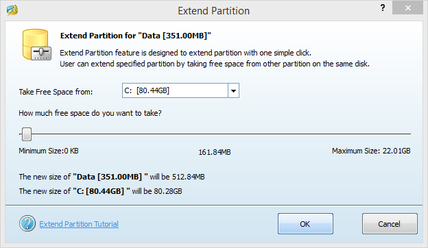 Mini Tool Partition Wizard Extend