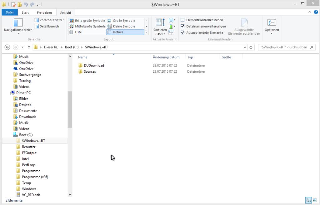 Windows Update 10 Ordner