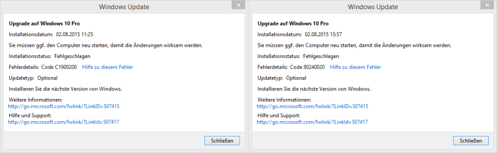 windows 10 upgrade fehlerdetails code