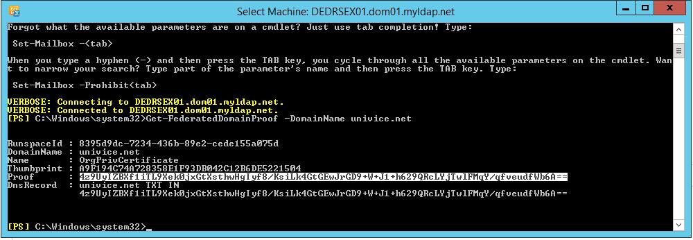 Einrichtung DNS - Exchange Federation Trust - O365