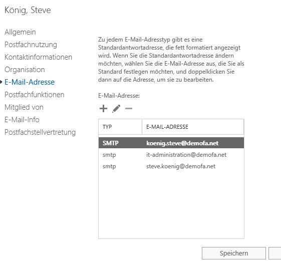 Neue primäre E-Mail-Adresse in Exchange