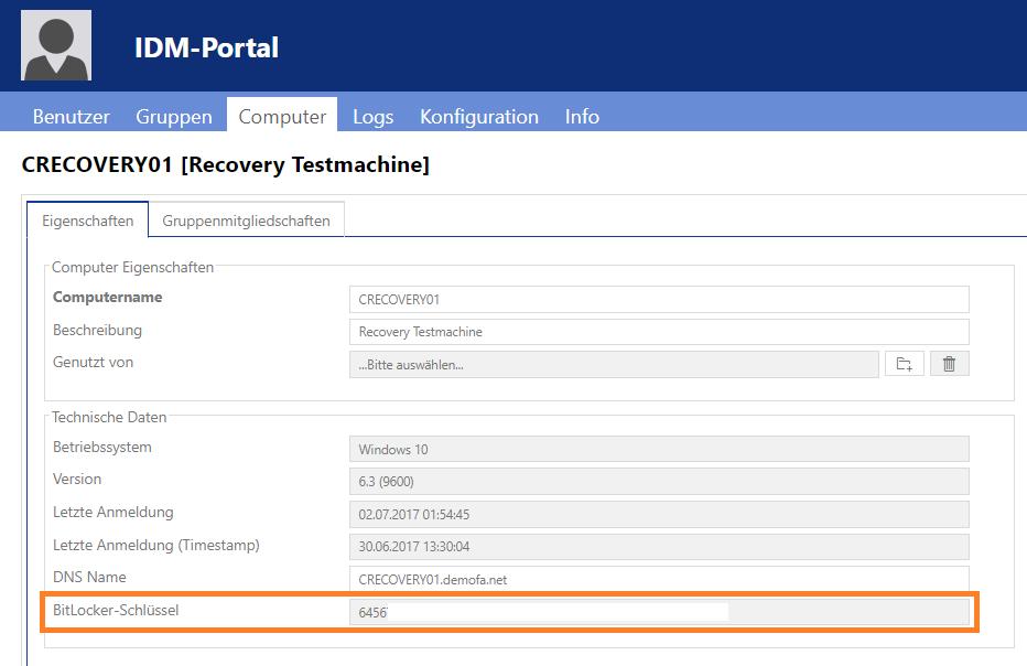 Bitlocker-Recovery Password mit IDM-Portal