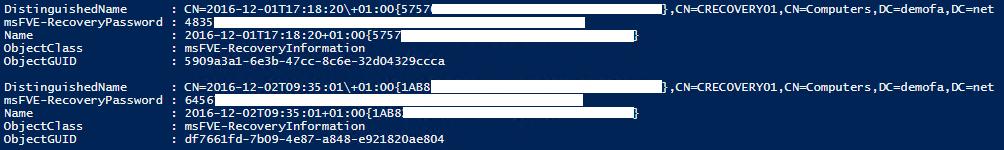Recovery Passwords der einzelnen Laufwerke in der Konsole zeigen