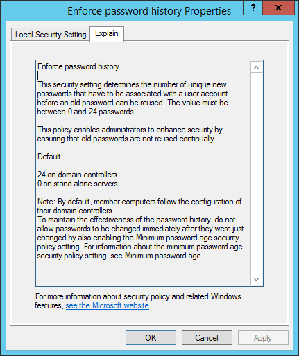 Enforce password history Properties - Richtlinien Passwortgenerierung  anpassen