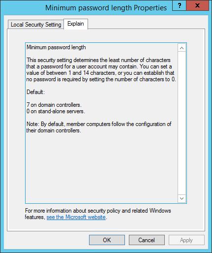 Minimum password length Properties - Richtlinien Passwortgenerierung