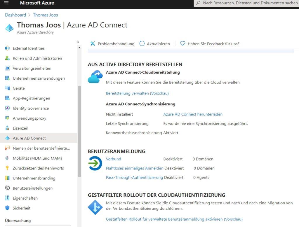 Verwalten von Azure AD Connect im Azure-Webportal