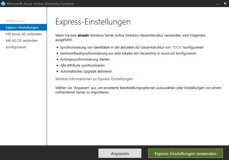 Auswählen der Express-Einstellungen für die Einrichtung von Azure AD