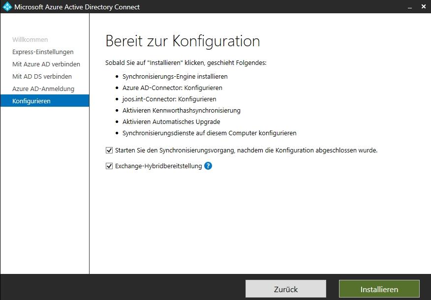 Anzeigen der Optionen, die Azure AD Connect konfiguriert