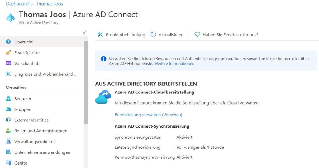 Anzeigen der erfolgreichen Synchronisierung von Active Directory und Azure Active Directory