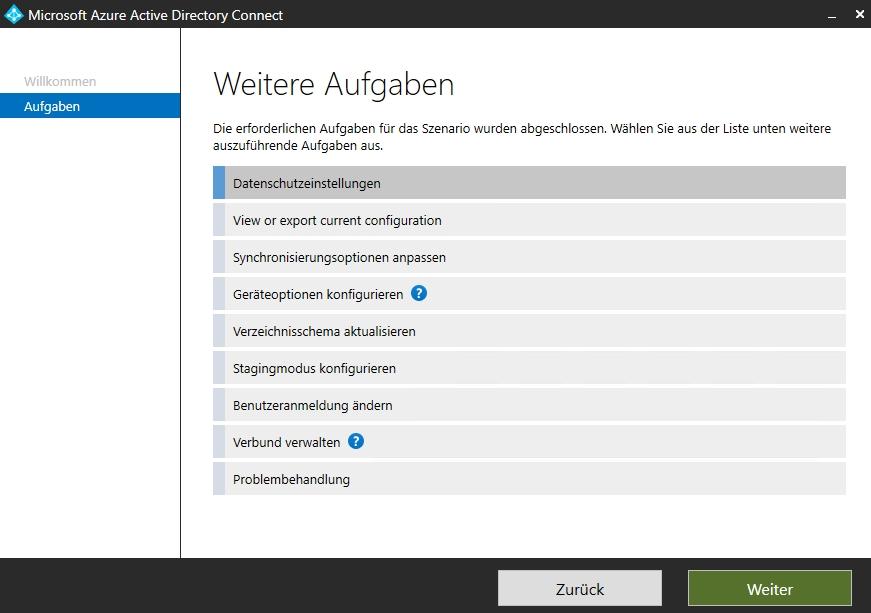 Anpassen der Einstellungen von Azure AD Connect