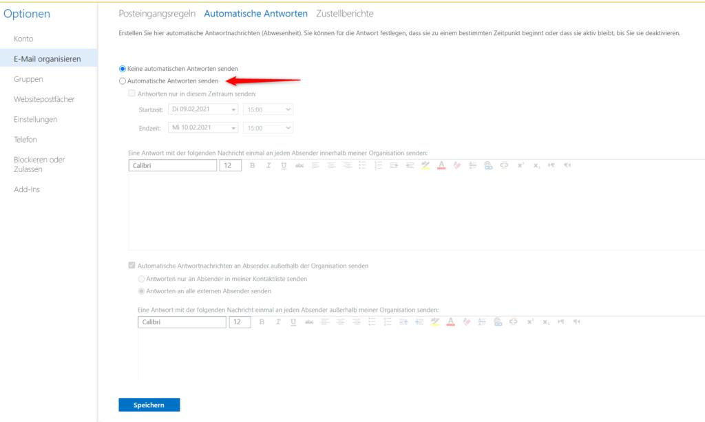 Exchange Admin Center für automatische Antworten