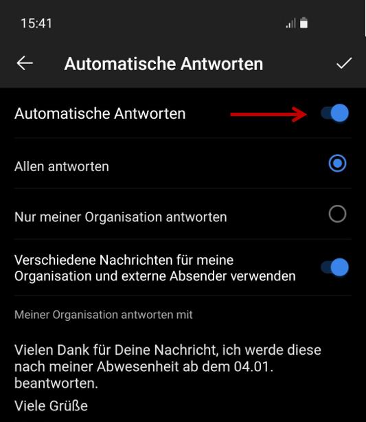 Outlook App - Automatische Antworten einstellen