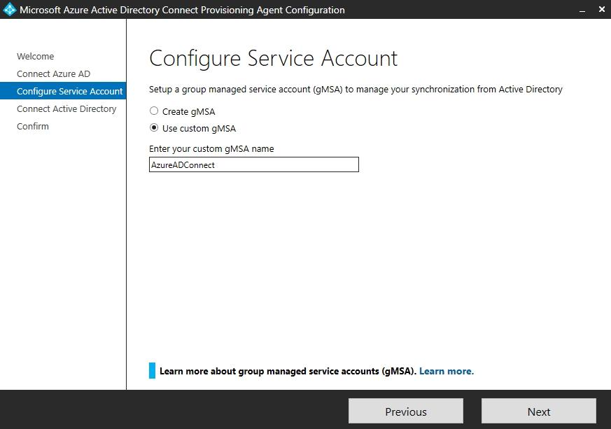 Auswählen des verwalteten Dienstkontos für den Betrieb des Agenten von Azure AD Connect Cloud Sync.