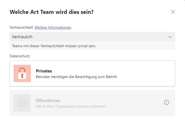 Datenschutzstufe für Teams festlegen
