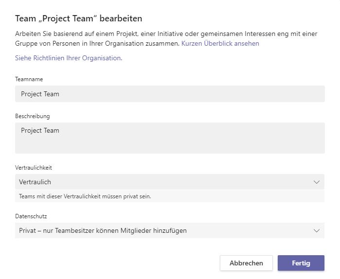 Team Project Team bearbeiten