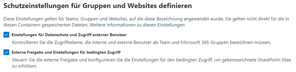 Schutzeinstellungen für Gruppen und Websites definieren