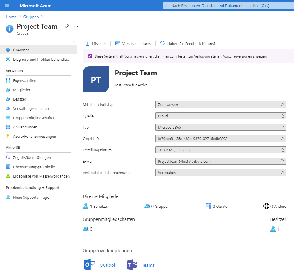 Azure Active Directory-Portal: Gruppen mit solchen Labels erstellen