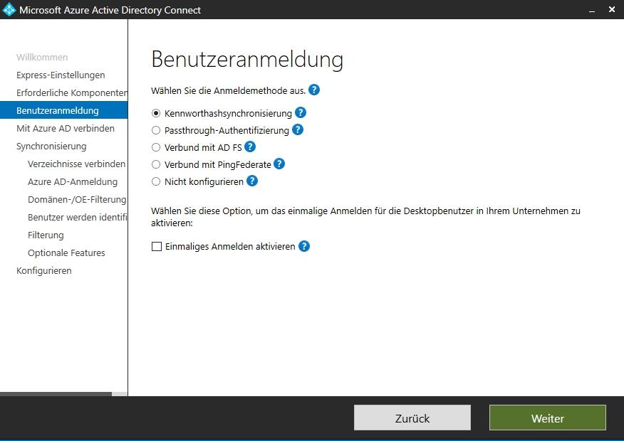 Bei der Einrichtung von Azure AD Connect wird ausgewählt, welche Benutzeranmeldungen und SSO-Funktionen zur Verfügung stehen sollen