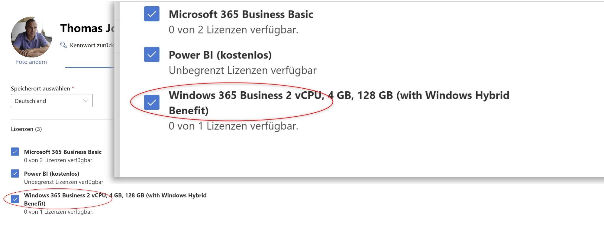 Windows 365 für Benutzer lizenzieren