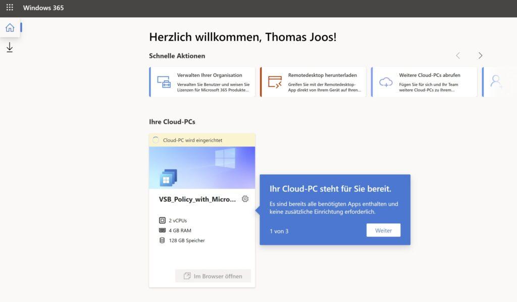 Zugreifen auf Windows 365 über den Webbrowser