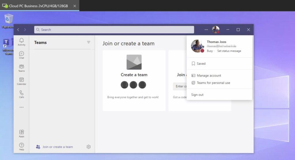 Microsoft Teams steht in Windows 365 standardmäßig zur Verfügung.